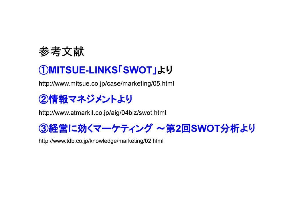 参考文献 ①MITSUE-LINKS「SWOT」より ②情報マネジメントより ③経営に効くマーケティング ~第2回SWOT分析より