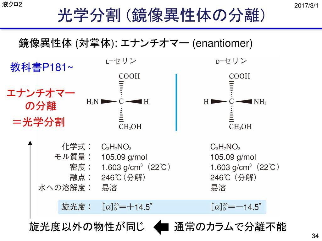 光学分割 (鏡像異性体の分離) 鏡像異性体 (対掌体): エナンチオマー (enantiomer) 教科書P181~ エナンチオマー の分離