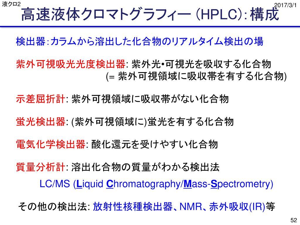 高速液体クロマトグラフィー (HPLC):構成