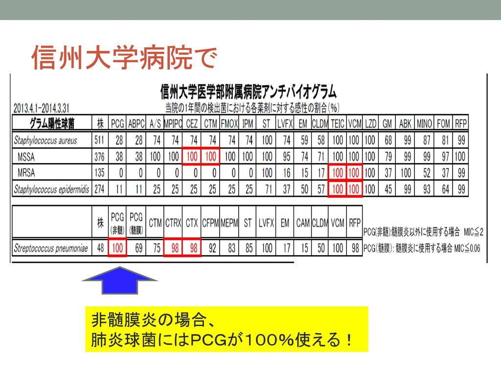 信州大学病院で 非髄膜炎の場合、 肺炎球菌にはPCGが100%使える!
