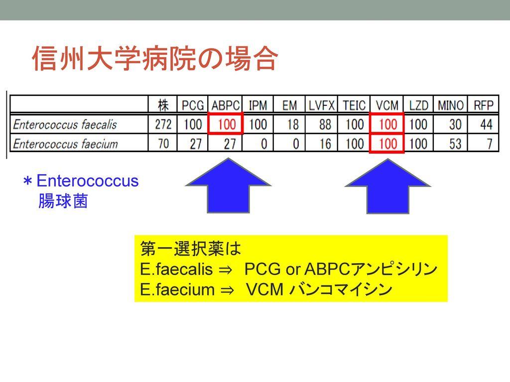 信州大学病院の場合 *Enterococcus 腸球菌 第一選択薬は E.faecalis ⇒ PCG or ABPCアンピシリン