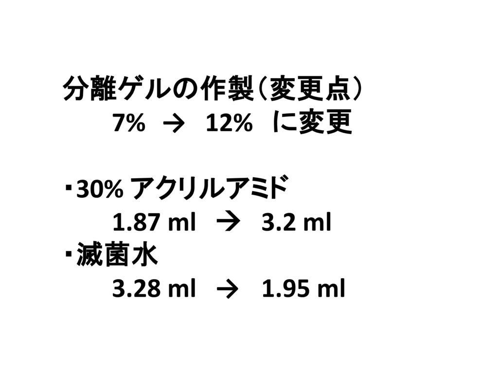 分離ゲルの作製(変更点) 7% → 12% に変更 ・30% アクリルアミド 1.87 ml  3.2 ml ・滅菌水 3.28 ml → 1.95 ml