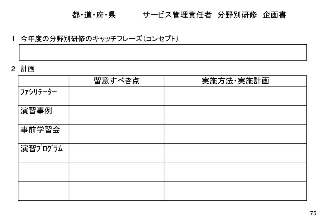 都・道・府・県 サービス管理責任者 分野別研修 企画書