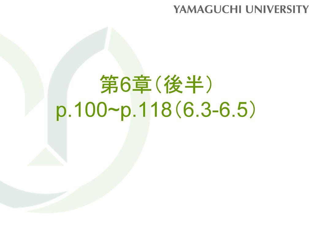 第6章(後半) p.100~p.118(6.3-6.5)