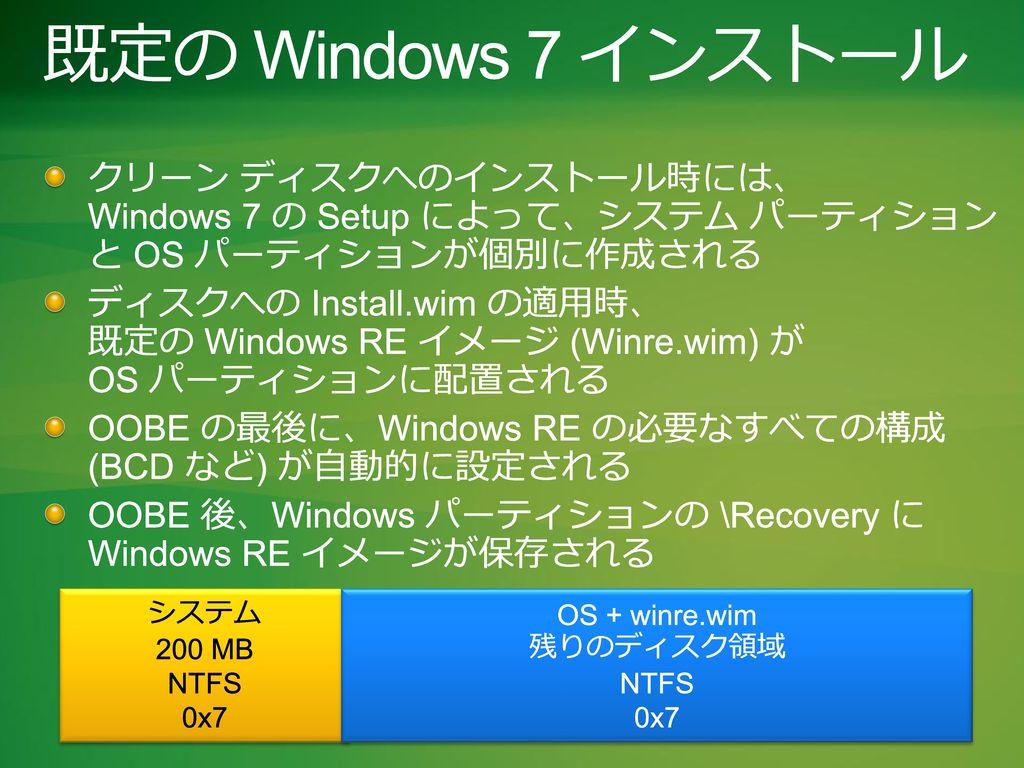 Windows Summit 2010 3/1/2017. 既定の Windows 7 インストール. クリーン ディスクへのインストール時には、 Windows 7 の Setup によって、システム パーティション と OS パーティションが個別に作成される.