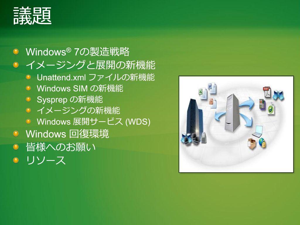 議題 Windows® 7の製造戦略 イメージングと展開の新機能 Windows 回復環境 皆様へのお願い リソース