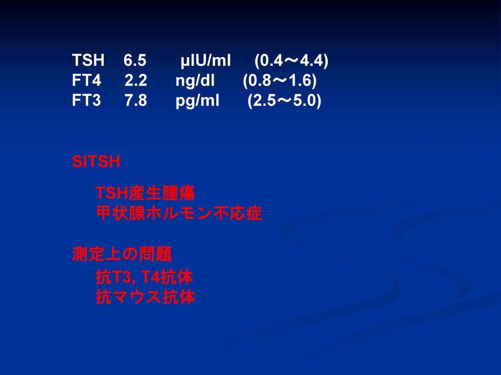 TSH 6.5 μIU/ml (0.4~4.4) FT4 2.2 ng/dl (0.8~1.6) FT3 7.8 pg/ml (2.5~5.0)