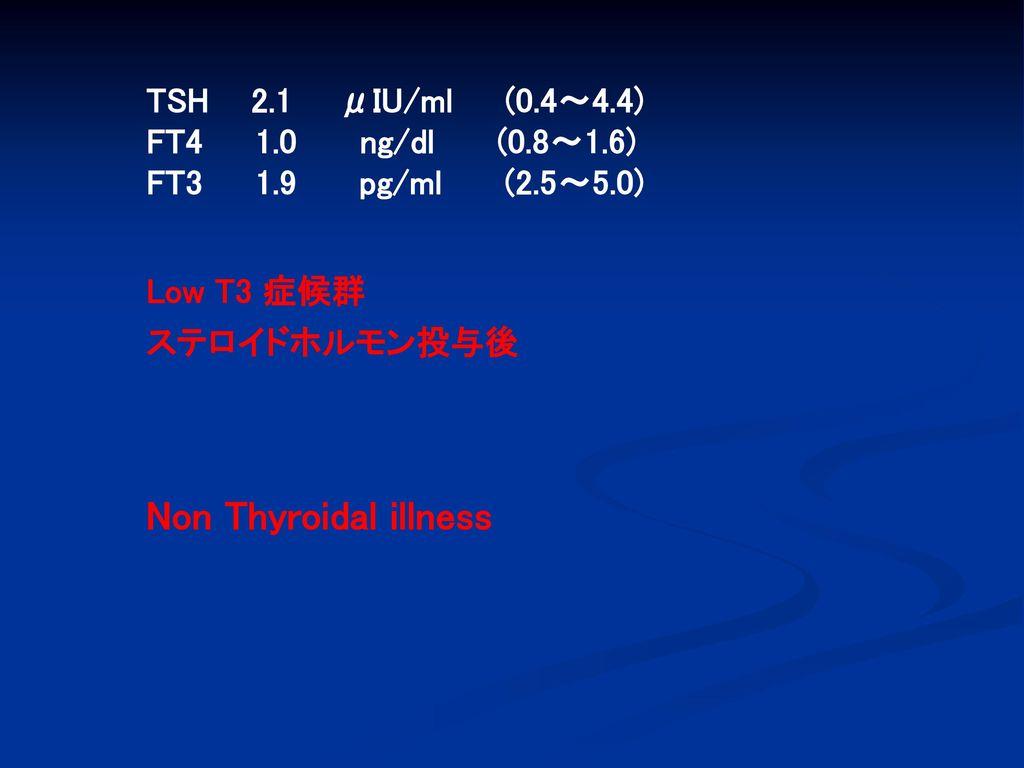 Non Thyroidal illness TSH 2.1 μIU/ml (0.4~4.4) FT4 1.0 ng/dl (0.8~1.6)