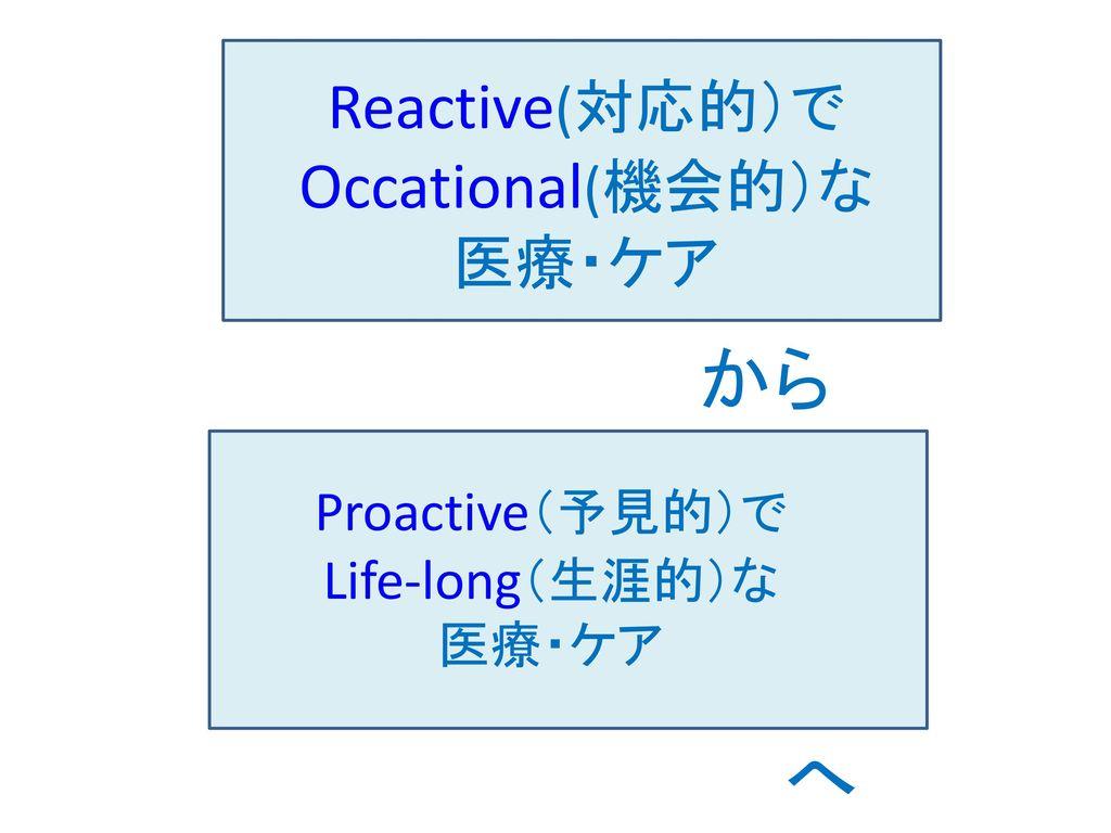 Reactive(対応的)でOccational(機会的)な 医療・ケア