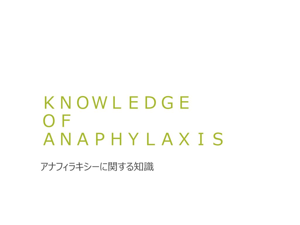 KNOWLEDGE OF ANAPHYLAXIS