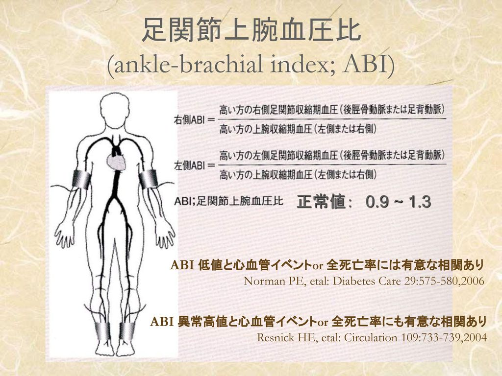足関節上腕血圧比 (ankle-brachial index; ABI)