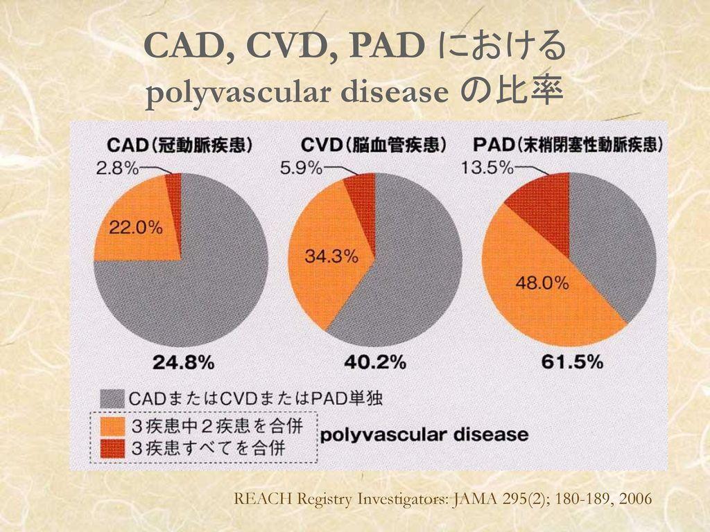 CAD, CVD, PAD における polyvascular disease の比率