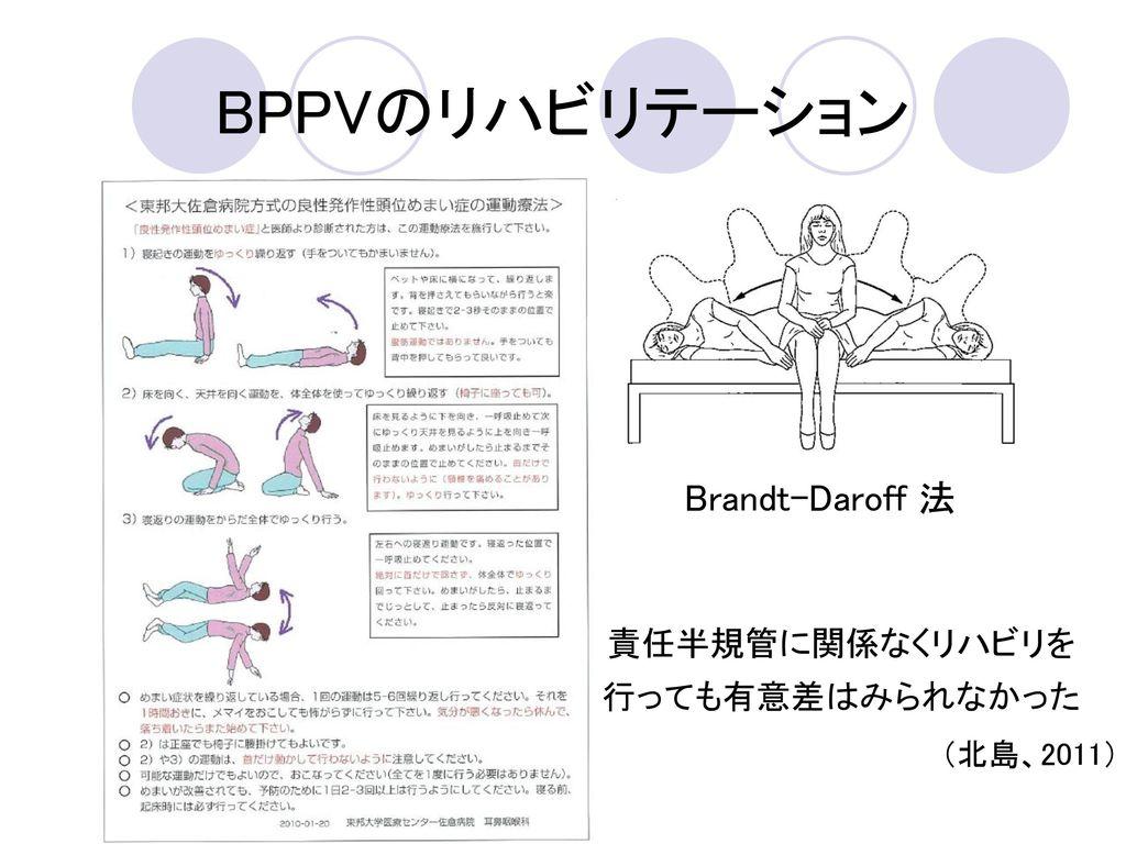 BPPVのリハビリテーション Brandt-Daroff 法 責任半規管に関係なくリハビリを 行っても有意差はみられなかった
