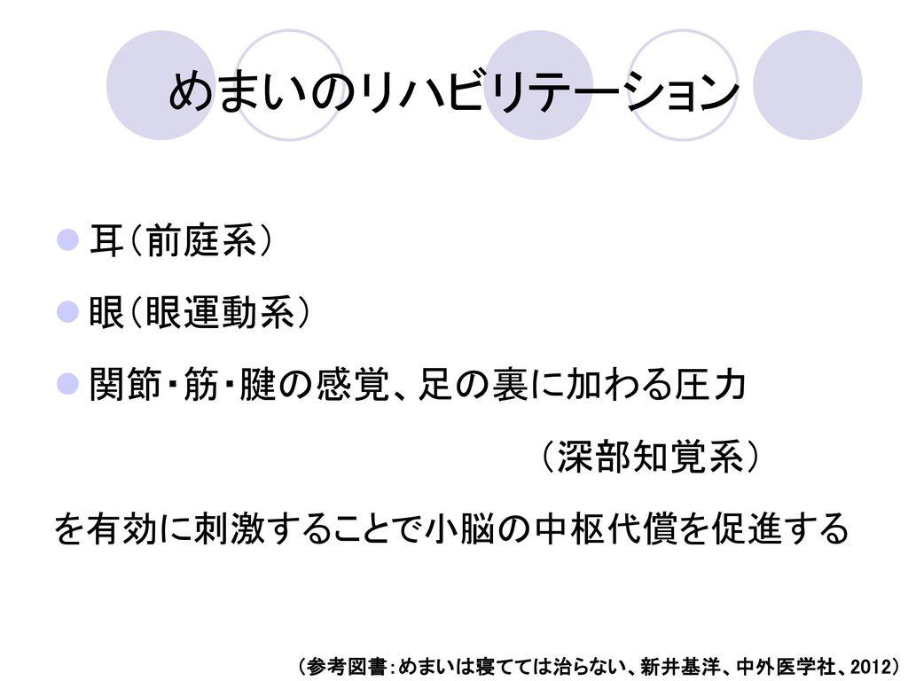 (参考図書:めまいは寝てては治らない、新井基洋、中外医学社、2012)