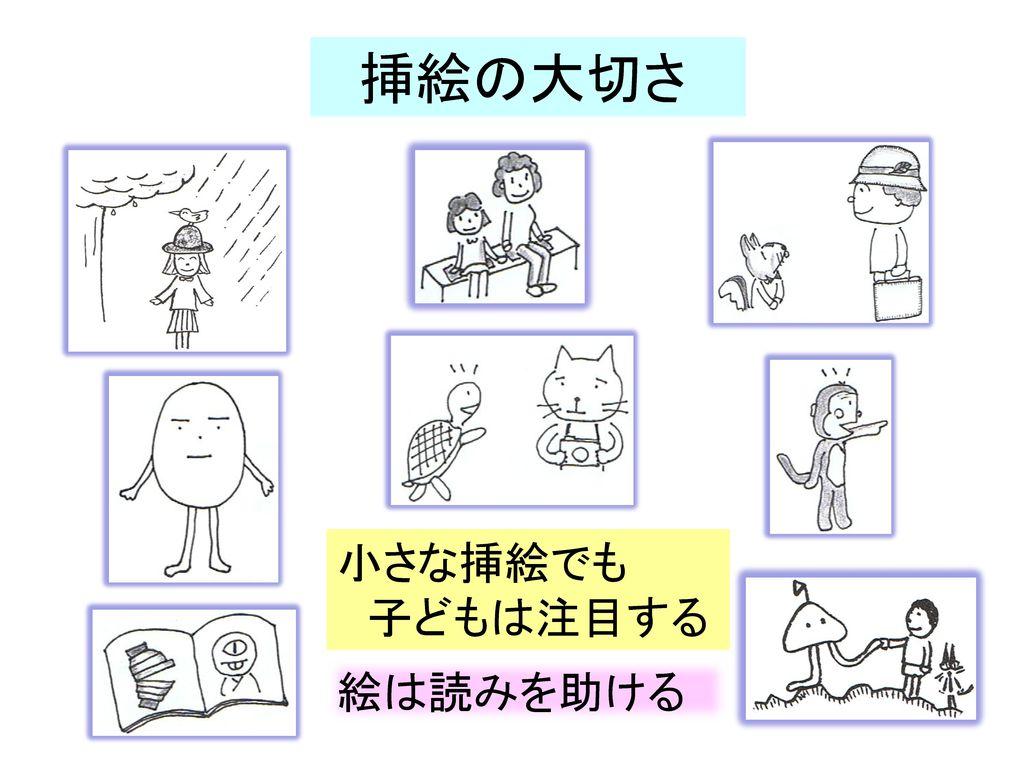 挿絵の大切さ 小さな挿絵でも 子どもは注目する 絵は読みを助ける