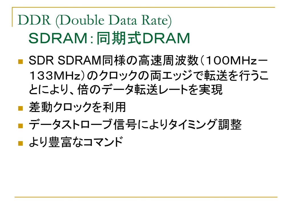 DDR (Double Data Rate) SDRAM:同期式DRAM