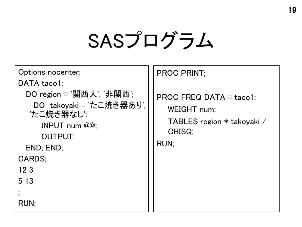 SASプログラム Options nocenter; DATA taco1; DO region = 関西人 , 非関西 ;