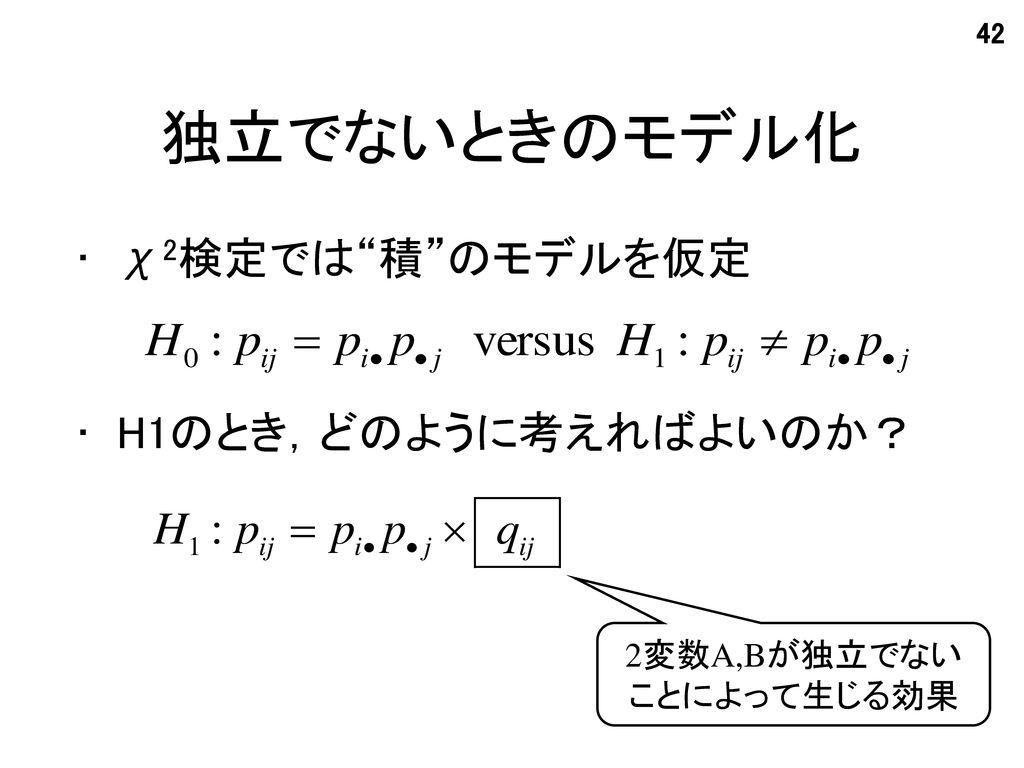 独立でないときのモデル化 χ2検定では 積 のモデルを仮定 H1のとき,どのように考えればよいのか? 2変数A,Bが独立でない