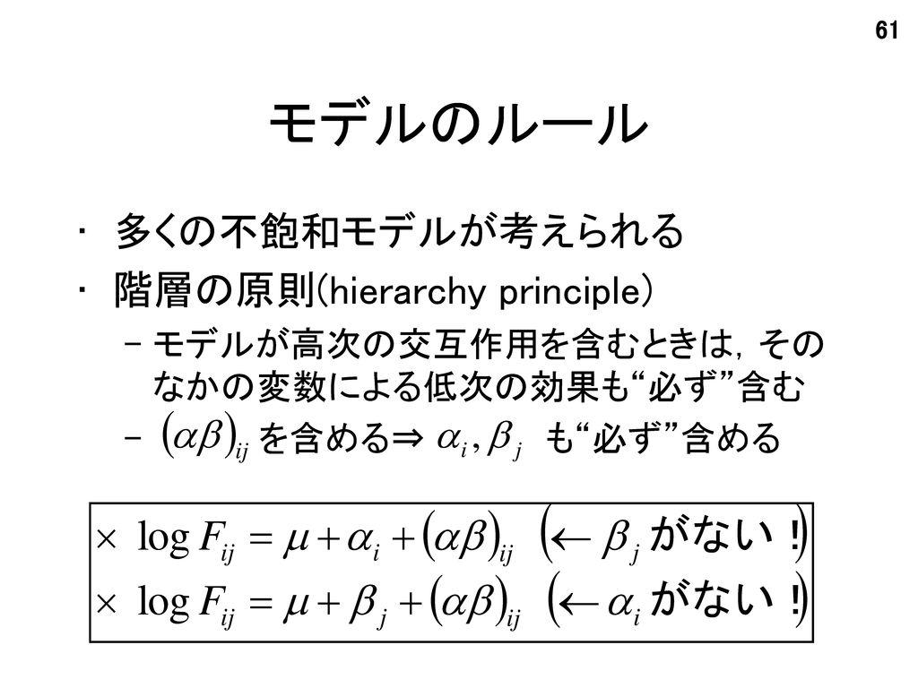 モデルのルール 多くの不飽和モデルが考えられる 階層の原則(hierarchy principle)