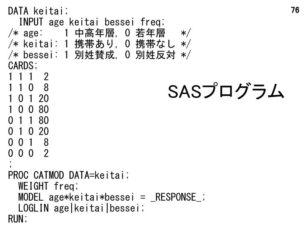 SASプログラム DATA keitai; INPUT age keitai bessei freq;