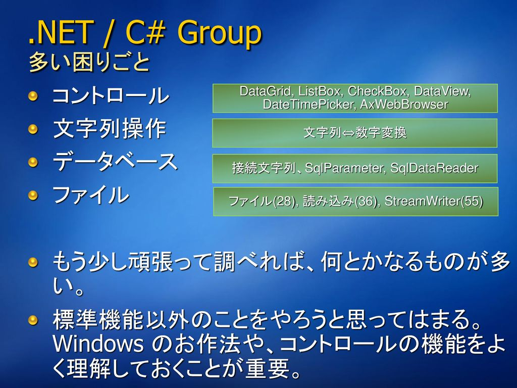 .NET / C# Group 多い困りごと コントロール 文字列操作 データベース ファイル