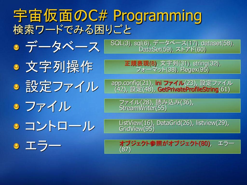 宇宙仮面のC# Programming 検索ワードでみる困りごと