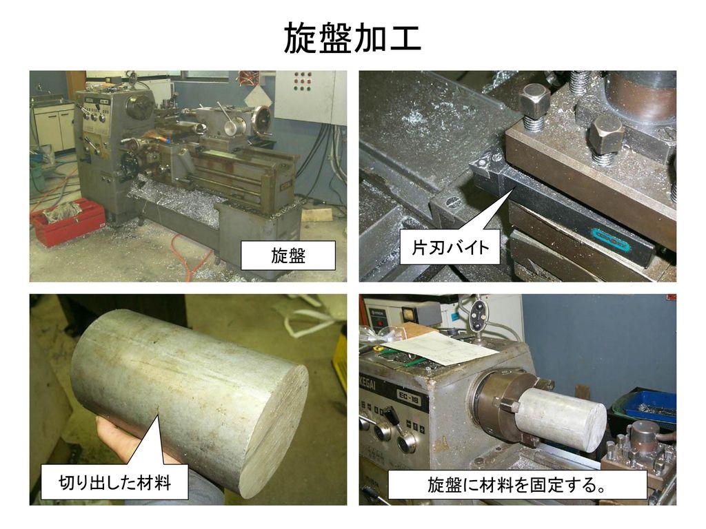 旋盤加工 片刃バイト 旋盤 切り出した材料 旋盤に材料を固定する。