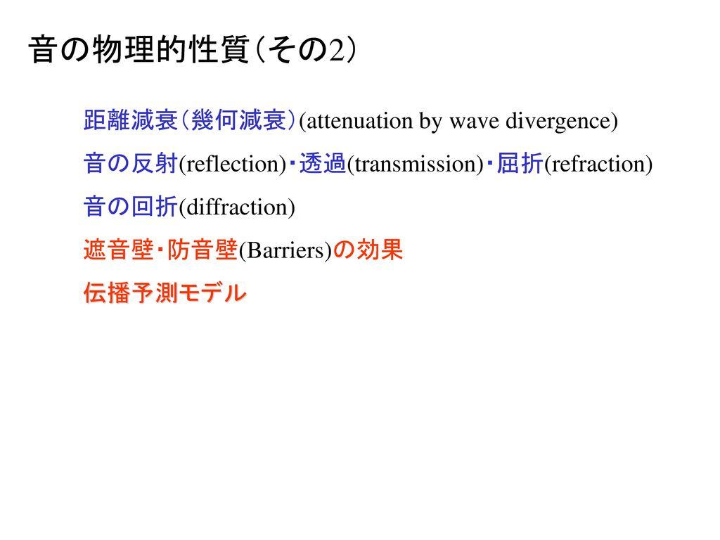 音の物理的性質(その2) 距離減衰(幾何減衰)(attenuation by wave divergence)
