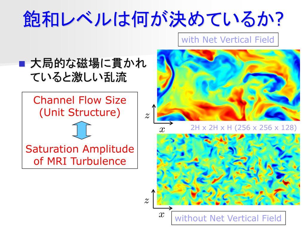 飽和レベルは何が決めているか 大局的な磁場に貫かれていると激しい乱流 Channel Flow Size (Unit Structure)