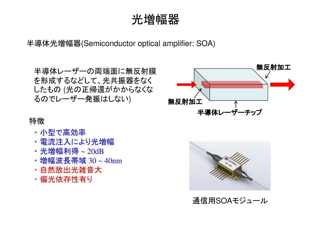 光増幅器 半導体光増幅器(Semiconductor optical amplifier: SOA)