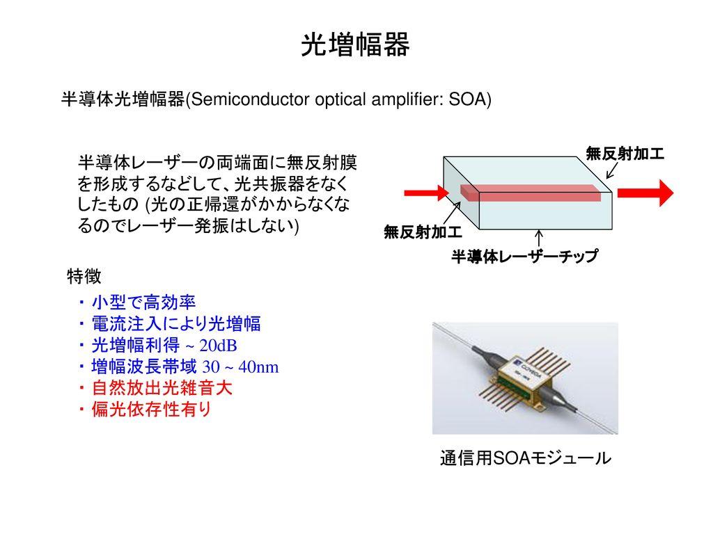 光増幅器 半導体光増幅器(Semiconductor optical amplifier: SOA)