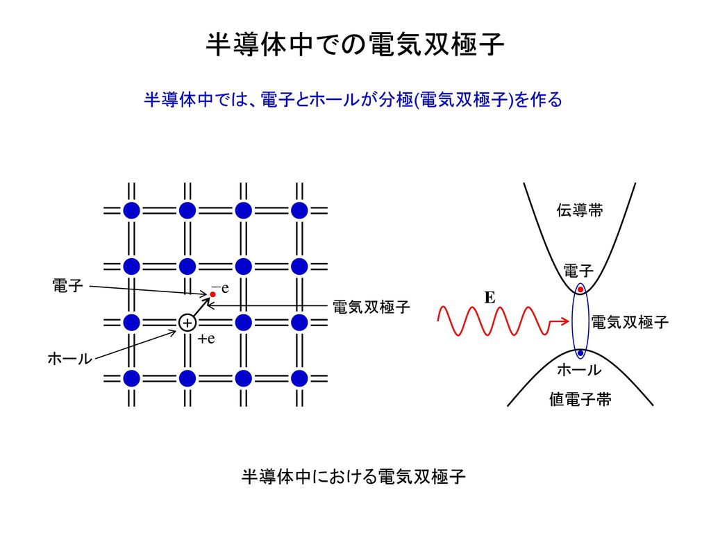 半導体中での電気双極子 半導体中では、電子とホールが分極(電気双極子)を作る −e E + +e 半導体中における電気双極子 伝導帯 電子
