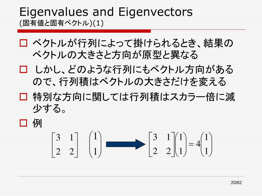 Eigenvalues and Eigenvectors (固有値と固有ベクトル)(1)
