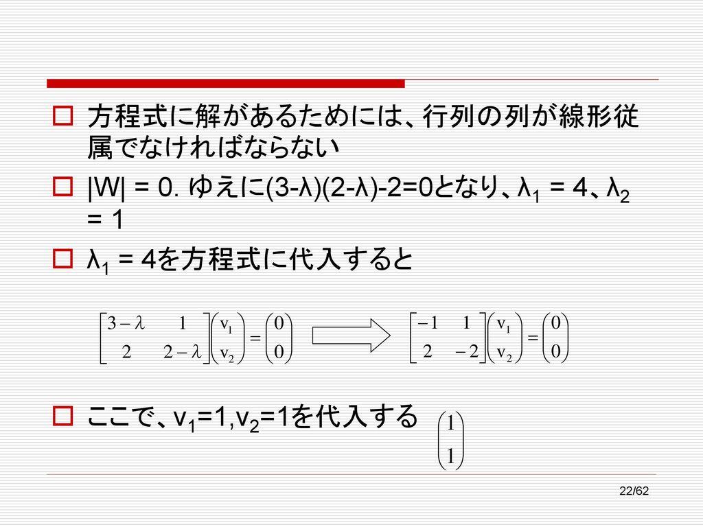 方程式に解があるためには、行列の列が線形従属でなければならない