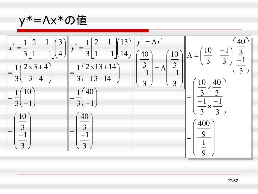y*=Λx*の値