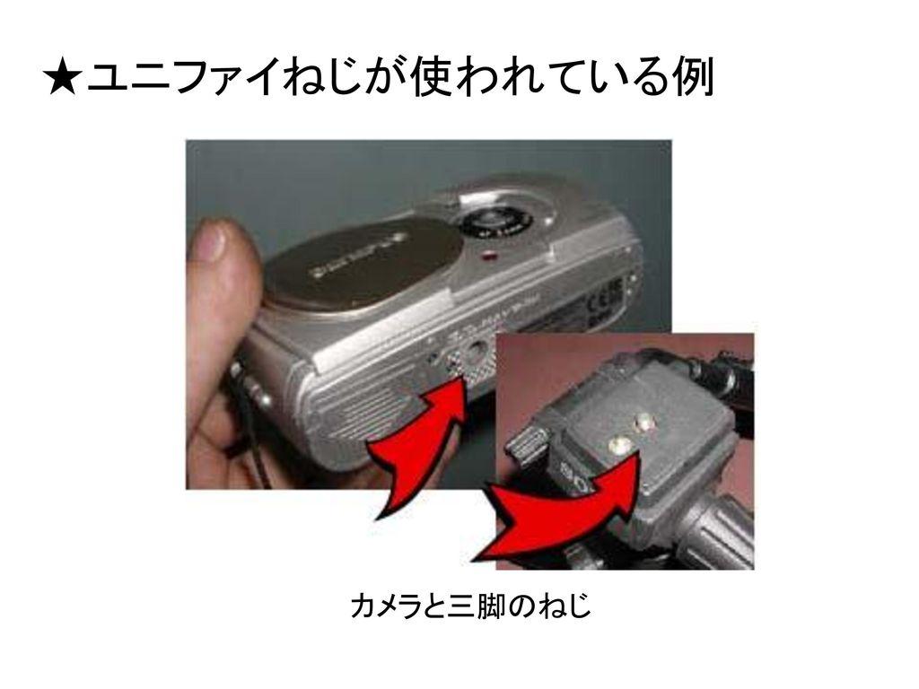★ユニファイねじが使われている例 カメラと三脚のねじ