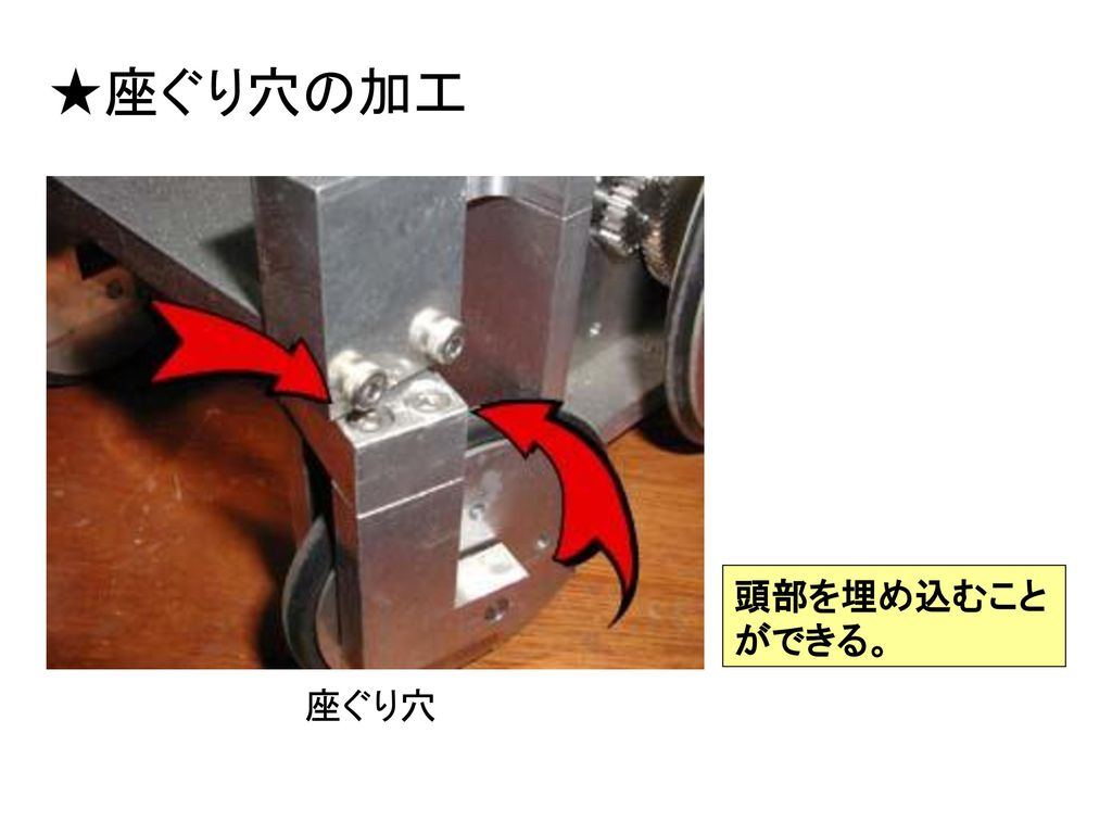 ★座ぐり穴の加工 頭部を埋め込むことができる。 座ぐり穴
