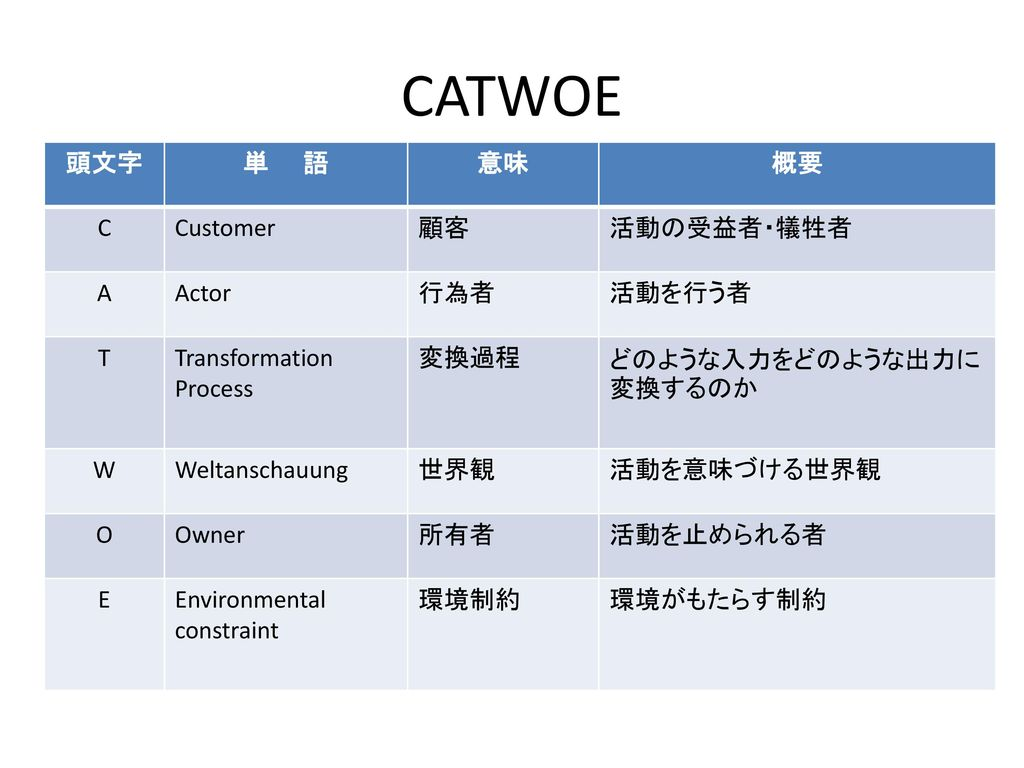 CATWOE 頭文字 単 語 意味 概要 C Customer 顧客 活動の受益者・犠牲者 A Actor 行為者 活動を行う者 T