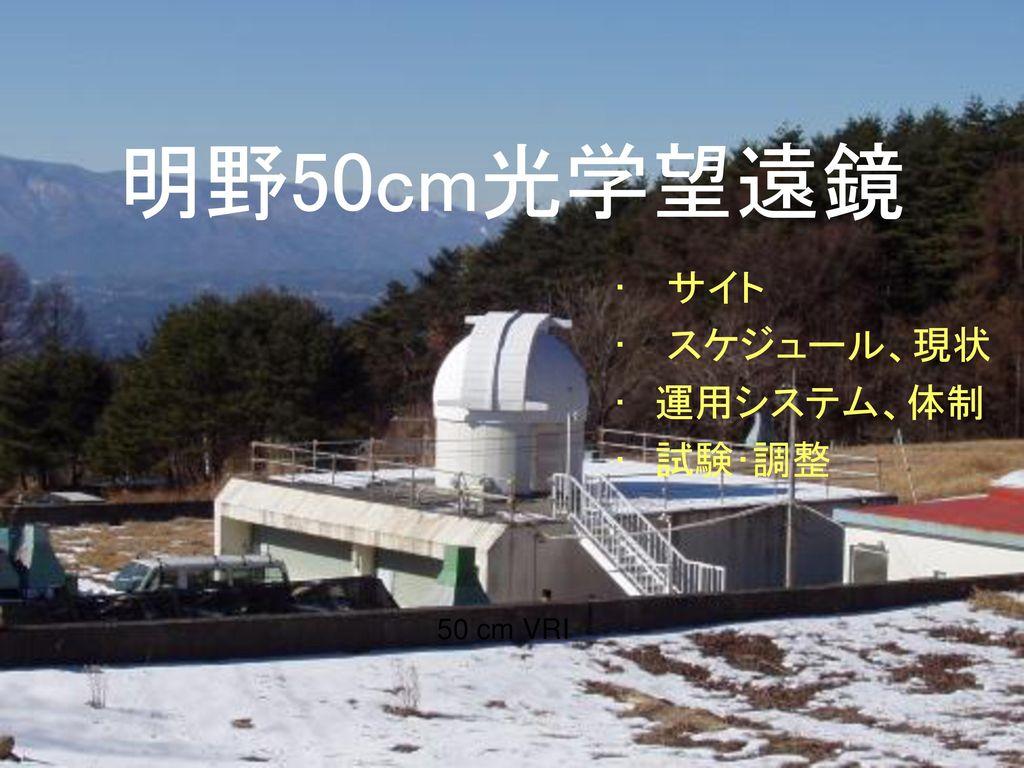 明野50cm光学望遠鏡 サイト スケジュール、現状 運用システム、体制 試験・調整 50 cm VRI