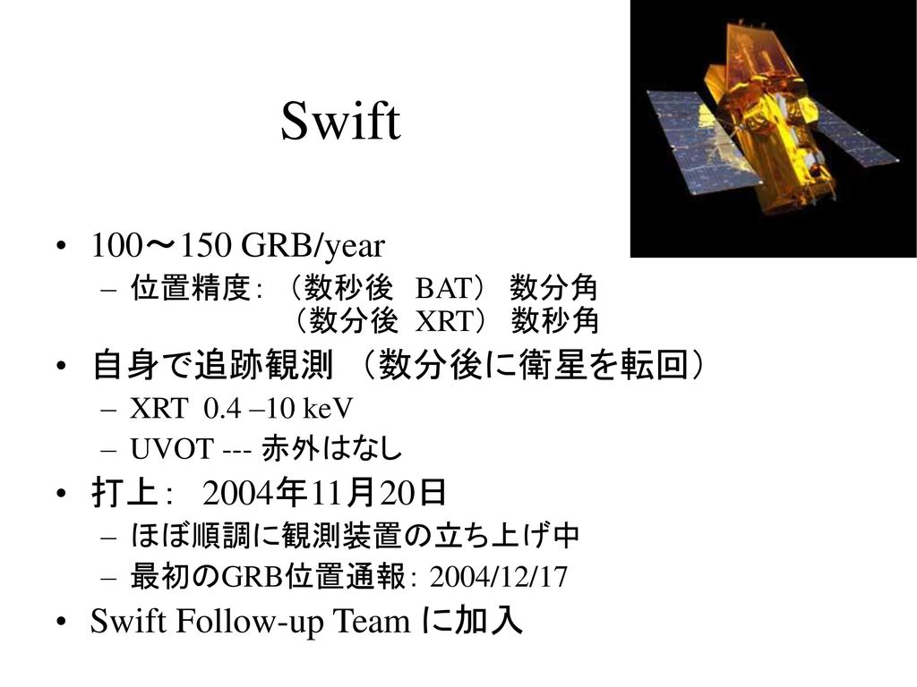 Swift 100~150 GRB/year 自身で追跡観測 (数分後に衛星を転回) 打上: 2004年11月20日