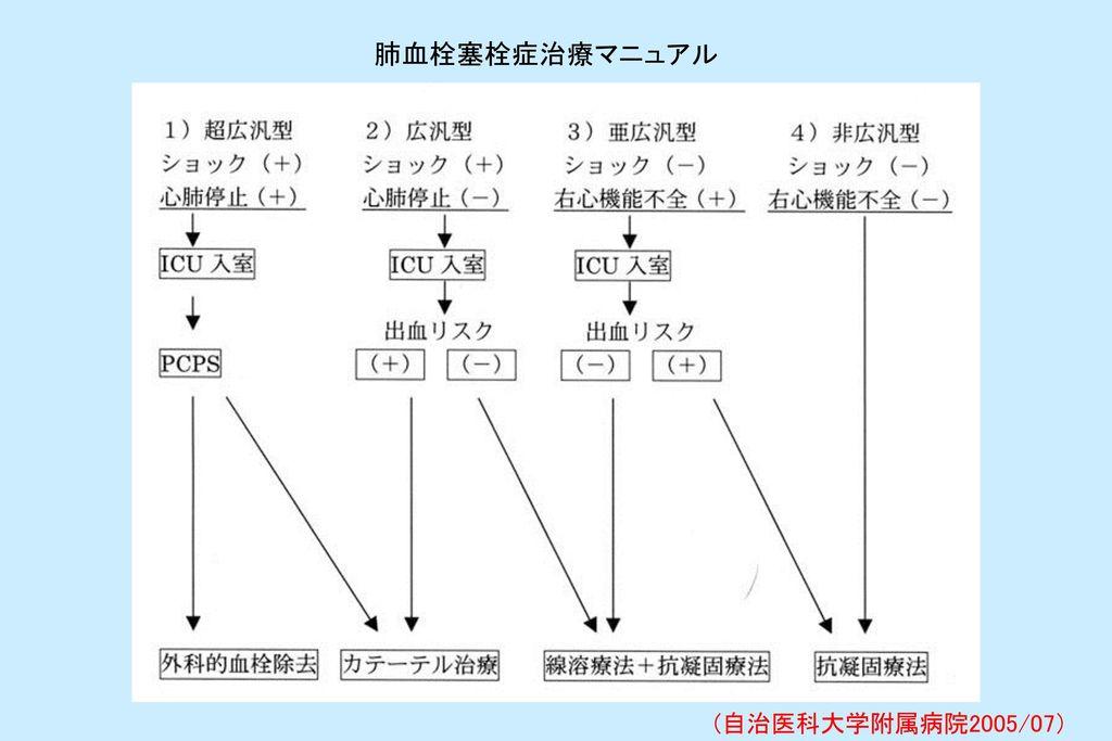肺血栓塞栓症治療マニュアル (自治医科大学附属病院2005/07)