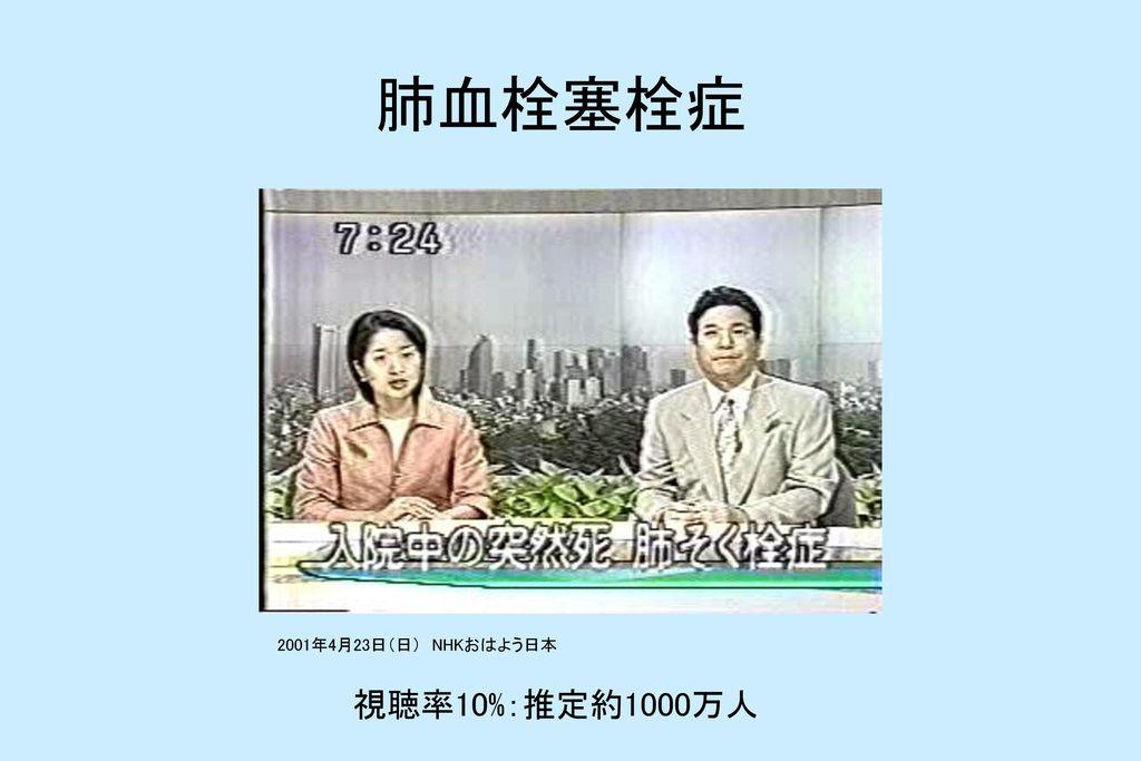 肺血栓塞栓症 2001年4月23日(日) NHKおはよう日本 視聴率10%:推定約1000万人