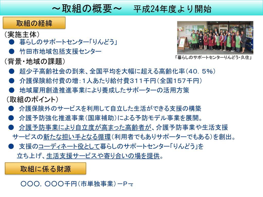 地域包括ケアシステム構築 へむけた取組事例 ~大分県竹田市の取組~
