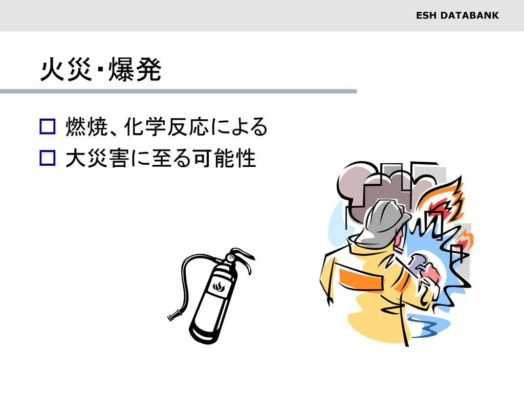 火災・爆発 燃焼、化学反応による 大災害に至る可能性