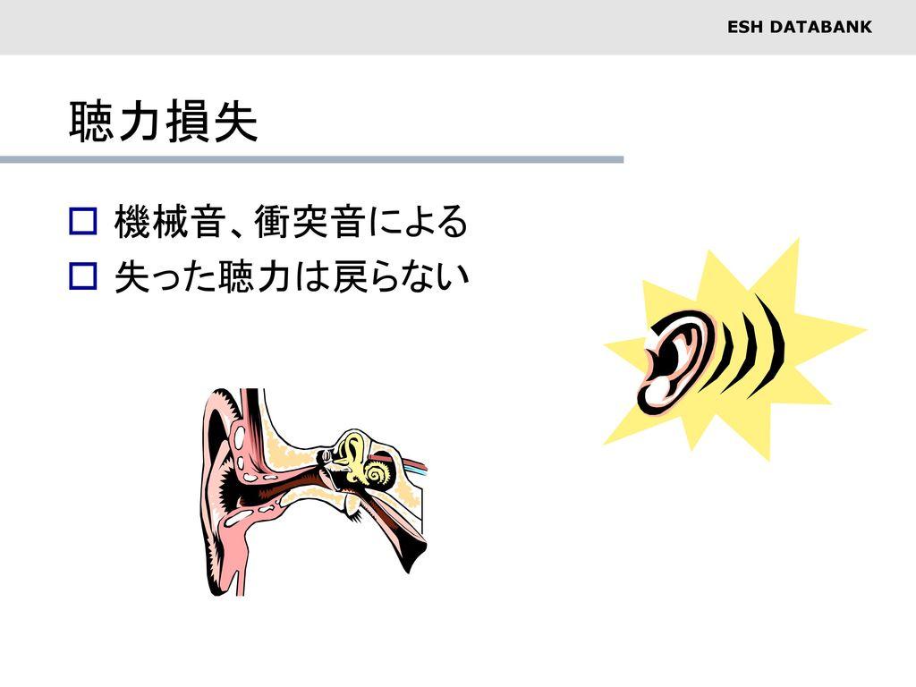 聴力損失 機械音、衝突音による 失った聴力は戻らない