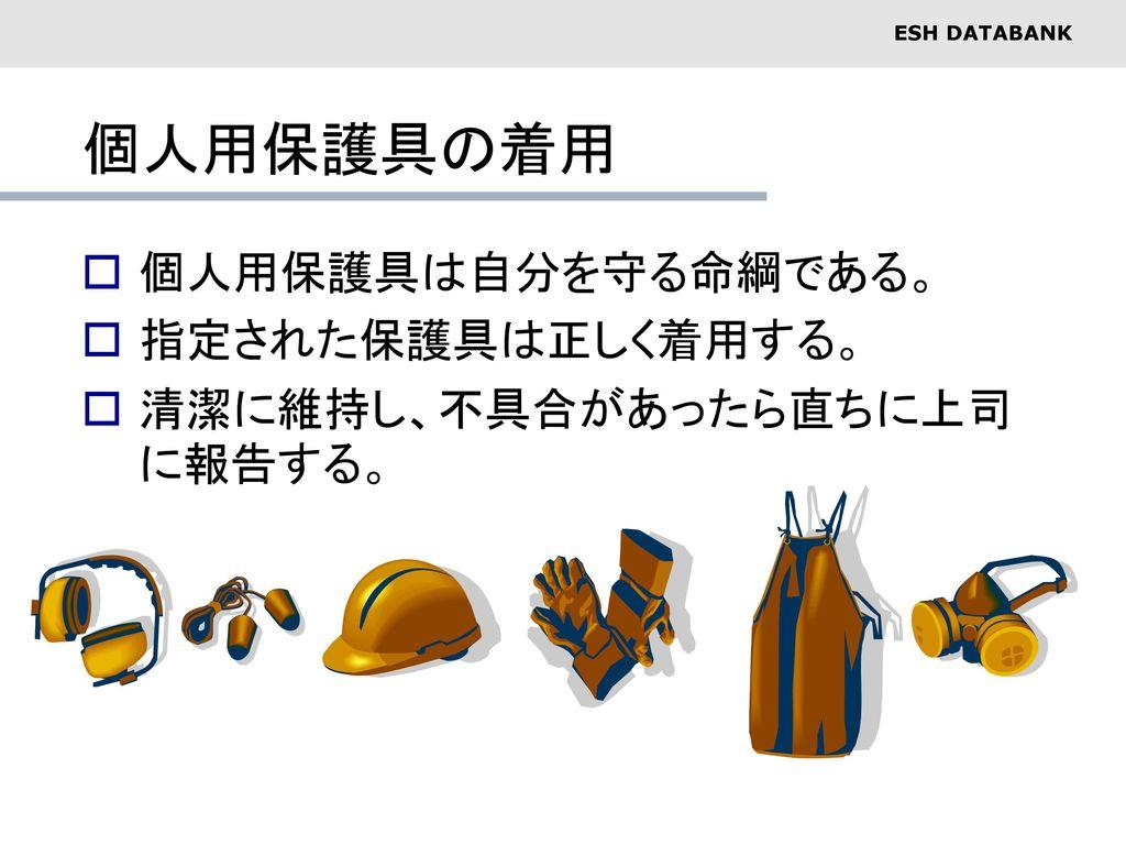 個人用保護具の着用 個人用保護具は自分を守る命綱である。 指定された保護具は正しく着用する。