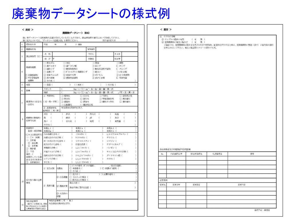 廃棄物データシートの様式例
