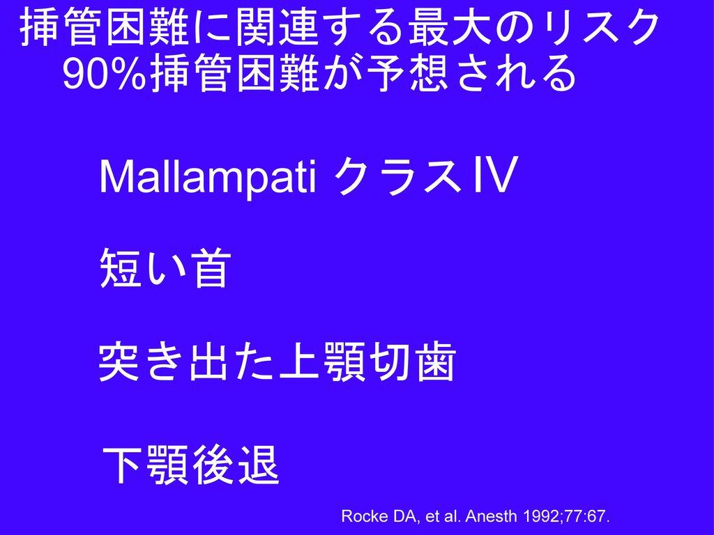 Mallampati クラス IV 短い首 突き出た上顎切歯 下顎後退 挿管困難に関連する最大のリスク 90%挿管困難が予想される