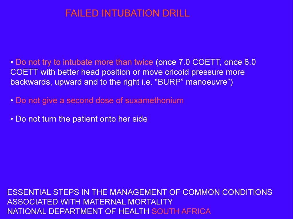 FAILED INTUBATION DRILL