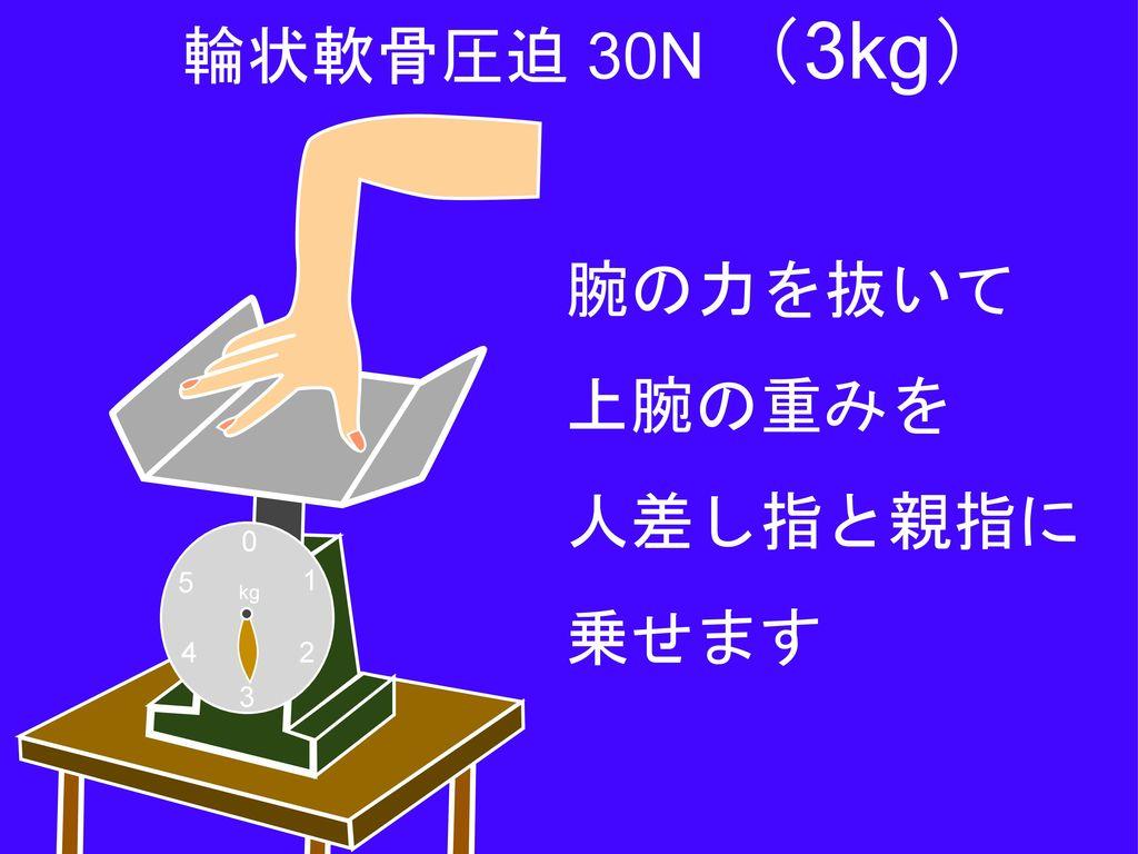 輪状軟骨圧迫 30N (3kg) 腕の力を抜いて 上腕の重みを 人差し指と親指に 乗せます 1 2 3 4 5 kg